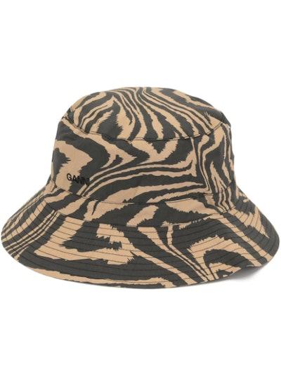Ganni zebra print bucket hat
