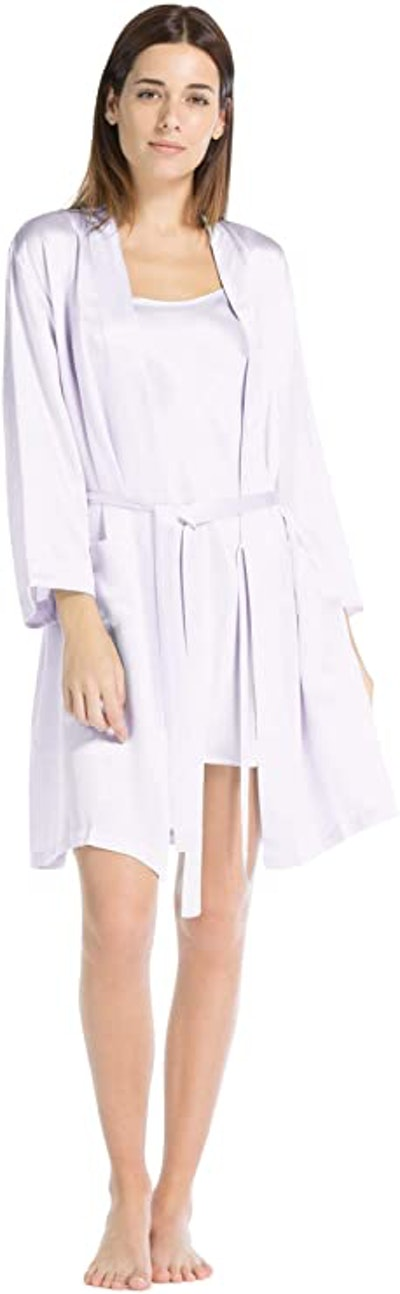 Fishers Finery Women's 100% Pure Mulberry Silk Robe with Pockets
