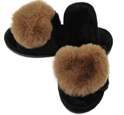 Crazy Lady Fluffy Open-Toe Slippers