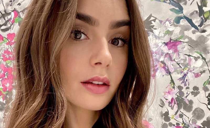 Lily Collins has posed in front of many floral and palm-print wallpapers