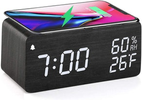 JALL Wooden Alarm Clock with Wireless Charger