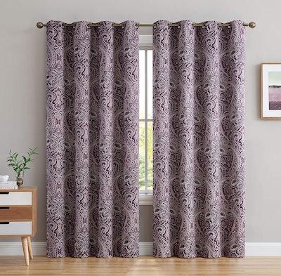 HLC.ME Paris Decorative Pattern Thermal Window Curtains (Set of 2)