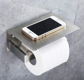 APLusee Toilet Paper Holder with Phone Shelf