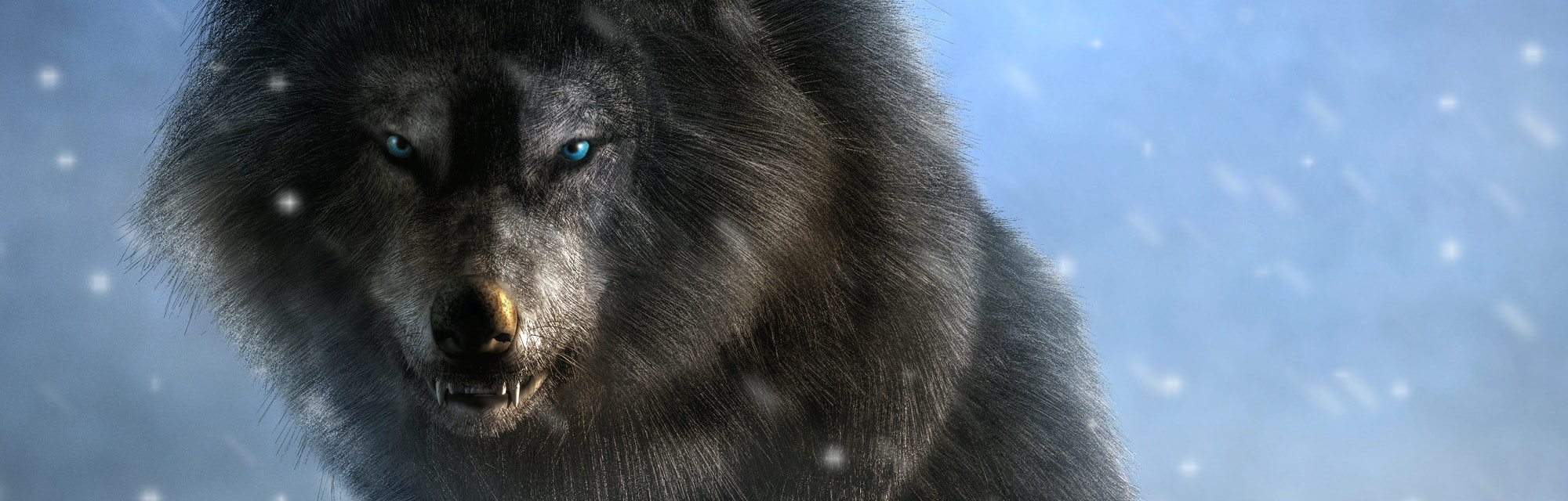 A large shaggy dire wolf bares its wicked teeth as it glares at you with deep blue eyes.
