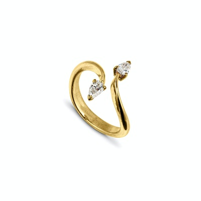 Gold Sculptural Ring With Two Pear Diamonds