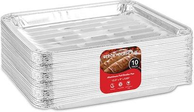 Stock Your Home Disposable Aluminum Foil Broiler Pans (10 Pack)