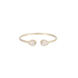 Pear Diamond Cuff Ring