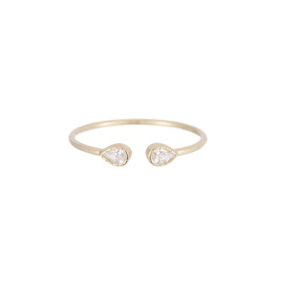 Pear Diamond Cuff Ring