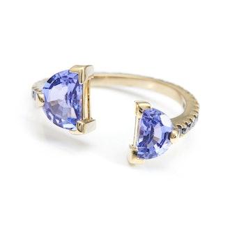 Tanzanite & Black Diamond Ring