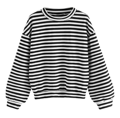 Floerns Drop Shoulder Striped Sweatshirt