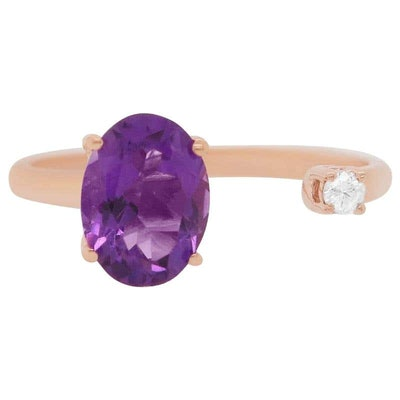 Oval Purple Amethyst Rose Gold Toi et Moi Ring