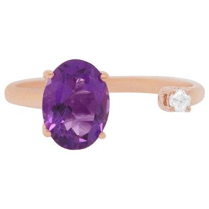 Oval Purple Amethyst Rose Gold Toi et Moi Ring