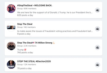 "Screenshot of Facebook search results for ""stop the steal"""
