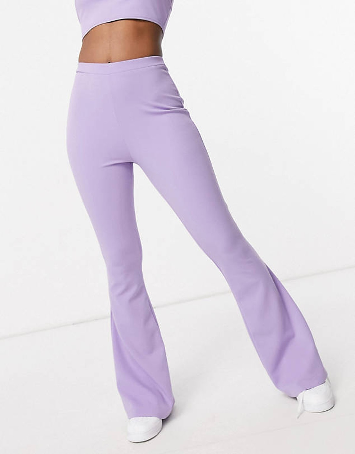 ASOS DESIGN Hourglass Jersey Kick Flare Suit Pants In Lilac