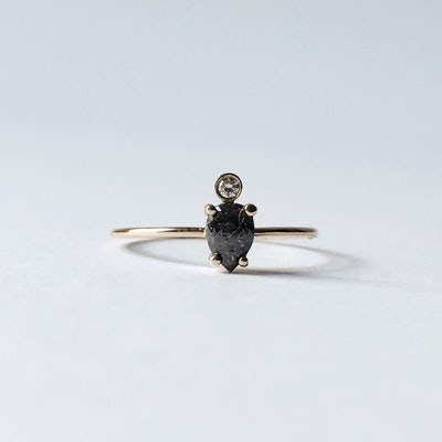 Smokey Pear Diamond Ring