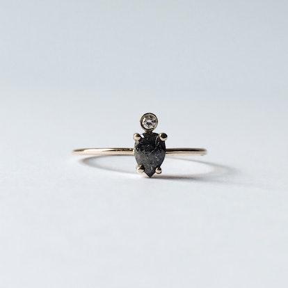 Smokey Pear Diamond Ring