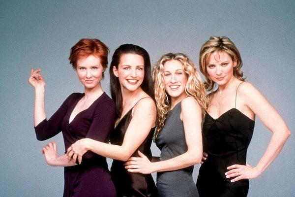 """Sex and the City"" cover photo including Cynthia Nixon, Kristin Davis, Sarah Jessica Parker, and Kim Cattrall."