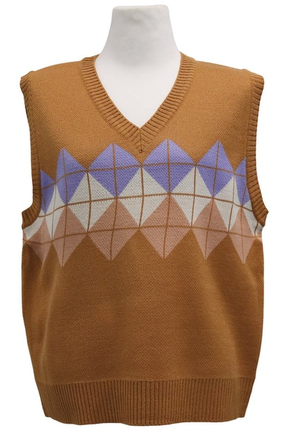 Audrey Argyle Knit Vest