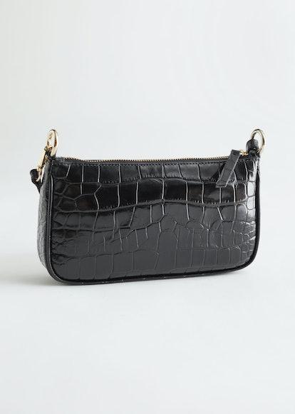 Croc Embossed Leather Shoulder Bag