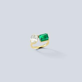 Bespoke Diamond Oval and Emerald Engagement Ring