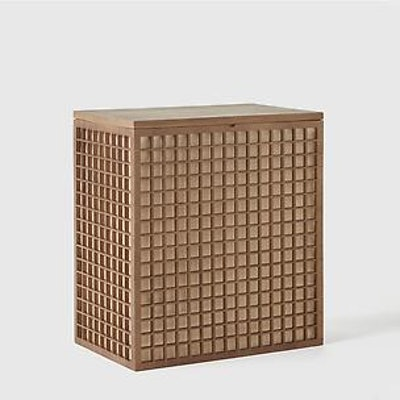 Marie Kondo Shoji 2-Section Bamboo Hamper Kocha Brown