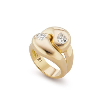 Knot Ring with Diamond Pears