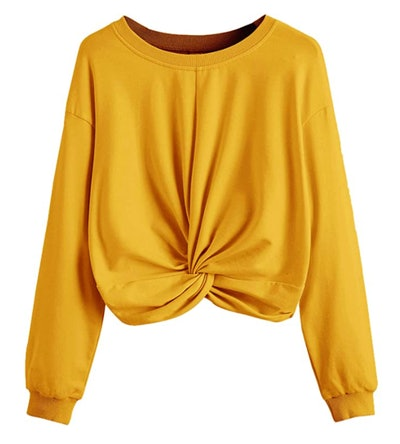 MakeMeChic Twist-Front Crop Sweatshirt