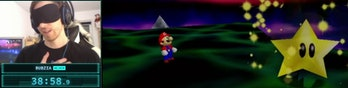 A relieved Bubzia in the moment he realizes he completed his Super Mario 64 speedrun.