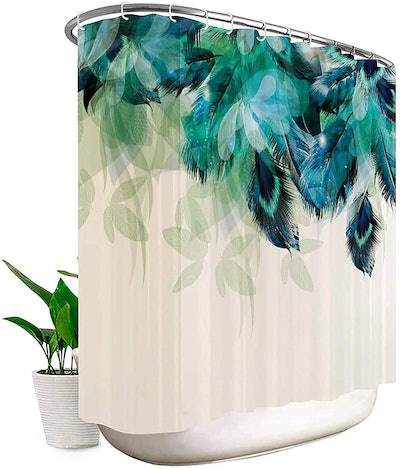 Riyidecor Clawfoot Tub Watercolor Peacock Shower Curtain