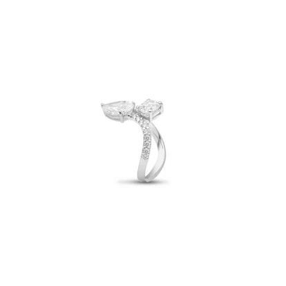 White Gold 'Toi et Moi' Old Cut Diamond Solitaire Ring