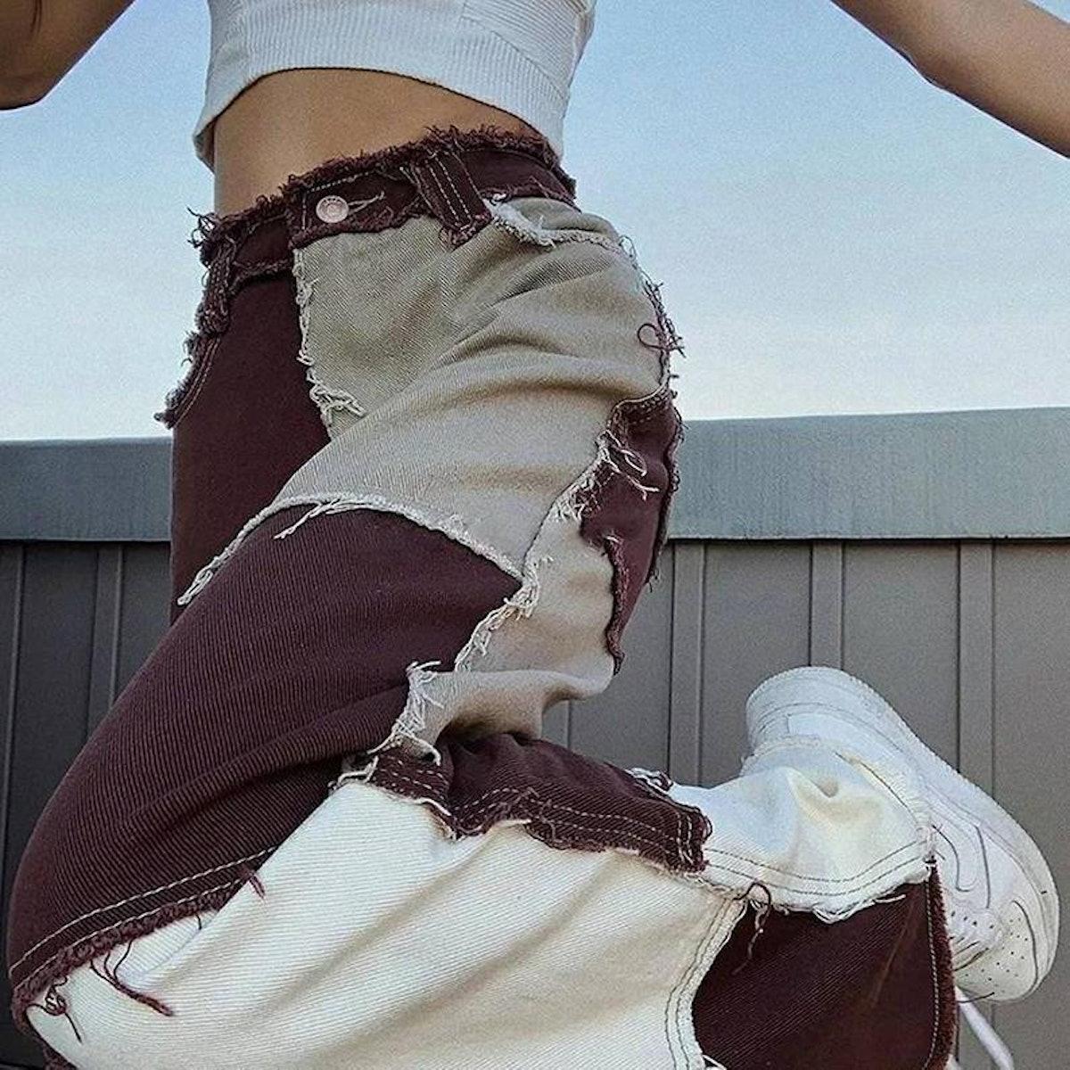 Dark Patchwork Ripped Denim Jeans