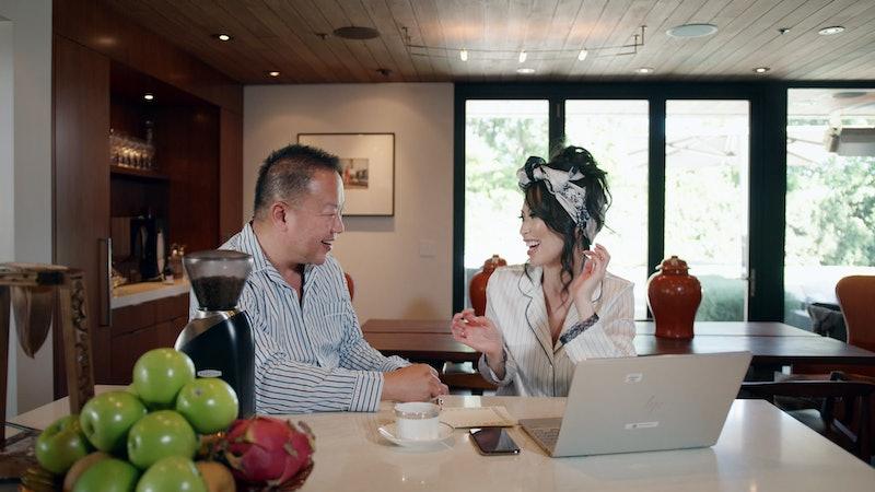 Gabriel Chiu and Christine Chiu laugh over coffee via Netflix Press Site