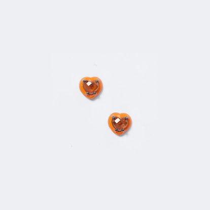 Mini Orange Enameled Heart Studs