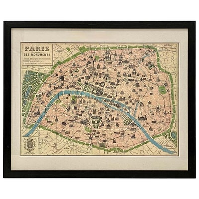 Framed Vintage Paris Visitor Guide