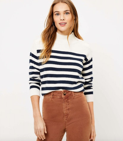 Striped Shoulder Button Sweater