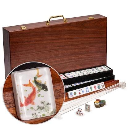 "American Mahjong Set, ""Koi Fish"" with Wooden Case"