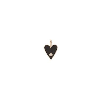 Medium Gold Border Enamel Heart With Diamond