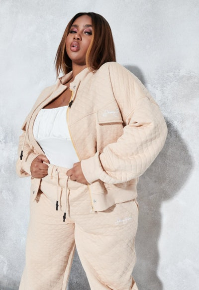 Sean John x Missguided plus size stone quilted cropped jacket