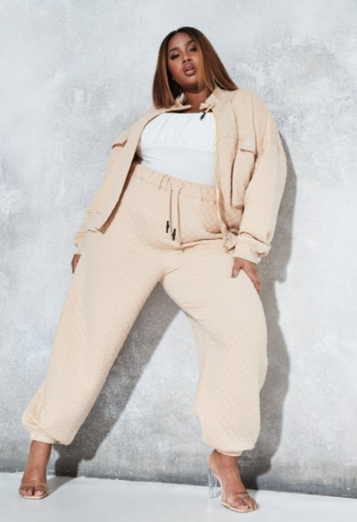 Sean John x Missguided plus size stone quilted oversized joggers