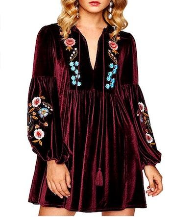 Aofur Embroidered Velvet Shift Dress