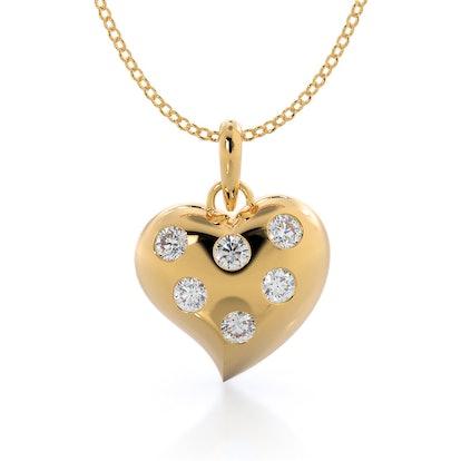 Lab Shining Diamond Heart Pendant