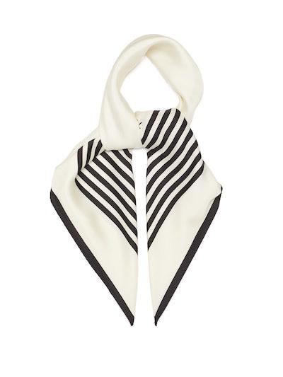 No.1 Striped-Border Silk Scarf