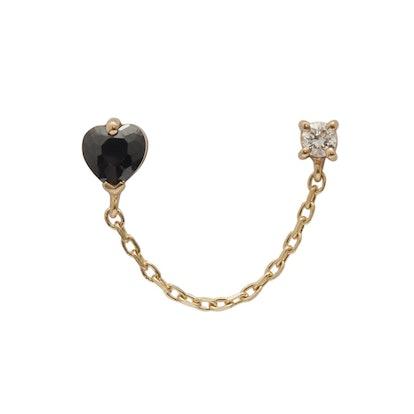 Onyx Heart & Diamond Chain Earring