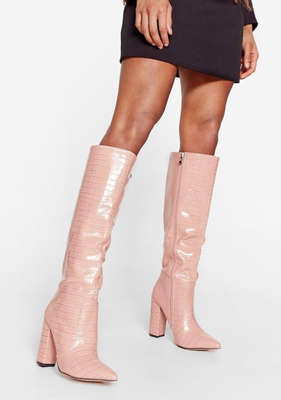 We Knee Business Faux Leather Croc Boots