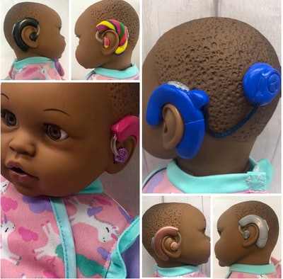 Black Doll with Hearing Aids and/or Cochlear Implants