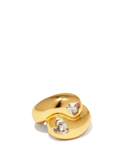 Heart-Cut Crystal & Gold-Plated Ring