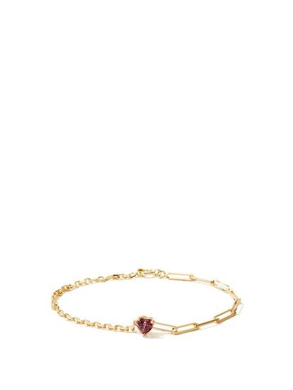 Rhodolite & 18kt Gold Heart Bracelet