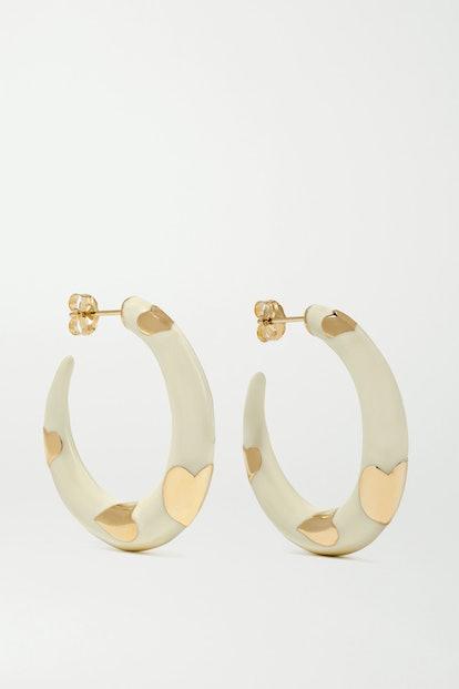 Amour 14-Karat Gold And Enamel Hoop Earrings