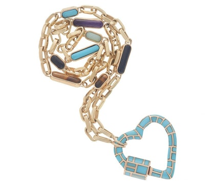 Turquoise Inlay Heart on Inlay Chain