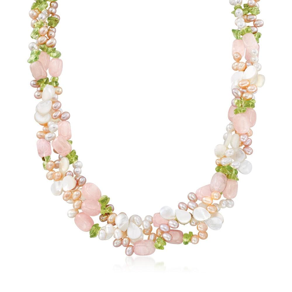Multicolored Cultured Pearl and Multi-Stone Torsade Necklace